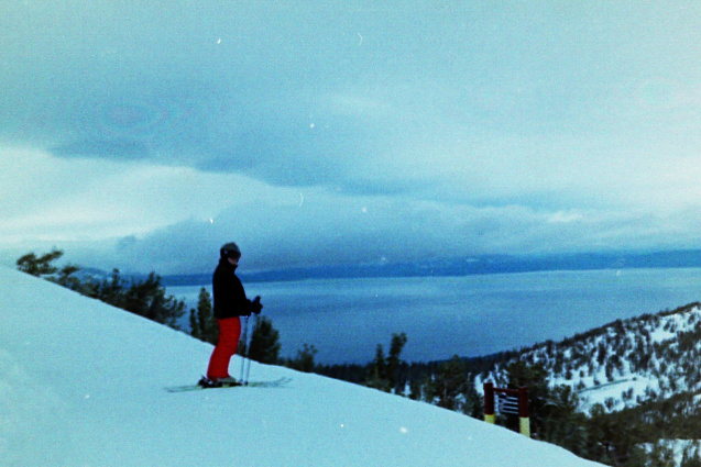 The view from the top of the mountain down to South Lake Tahoe.   You can see both California and Nevada in this shot.