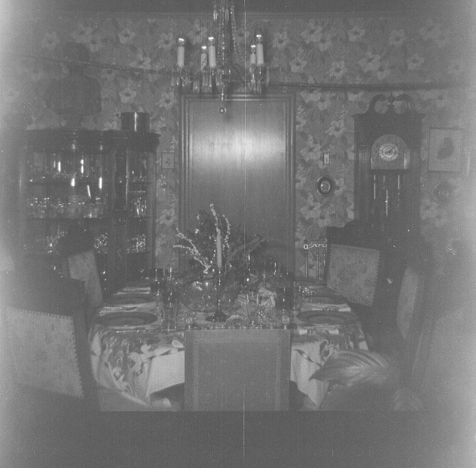 This came off a roll of 120 film in one of the older cameras that I found.   No clue on actual photo date but it is a shot of my friend's great grandparent's dining room.