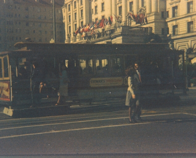 San Francisco trolley car in the late 1970s, shot on 110 film.