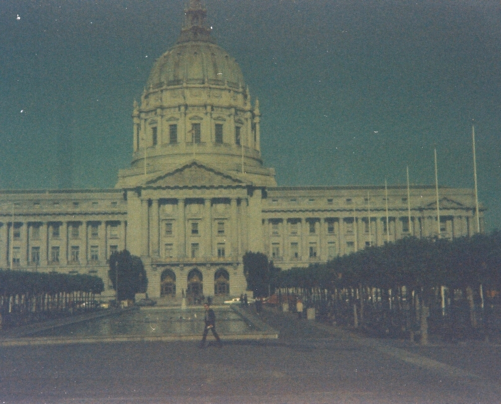 San Francisco Court House,  same roll of 110 film.  The fountain area was removed after the 1989 earthquake and is now grass but the rows of trees are still there.