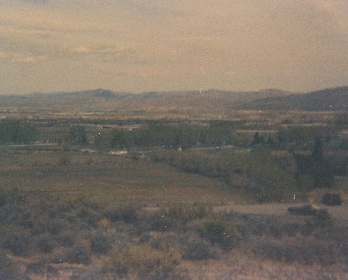 Albeit blurry, this is a shot of south Reno from above Windy Hill looking down to Bartley Ranch and the Harrah's Ranch.    Same roll of 110, probably late 70s.